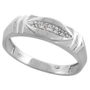 Other - 6mm 10k White Gold Men Diamond Wedding Band Ring